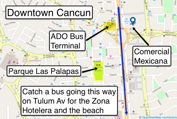 Day 1 f Cancun bus to beach