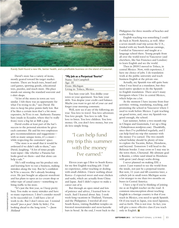TCampbell_My Job as a Perpetual Tourist_IL_September2013_Issue